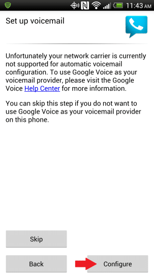 In the Setup Voicemail screen, tap on the Configure option
