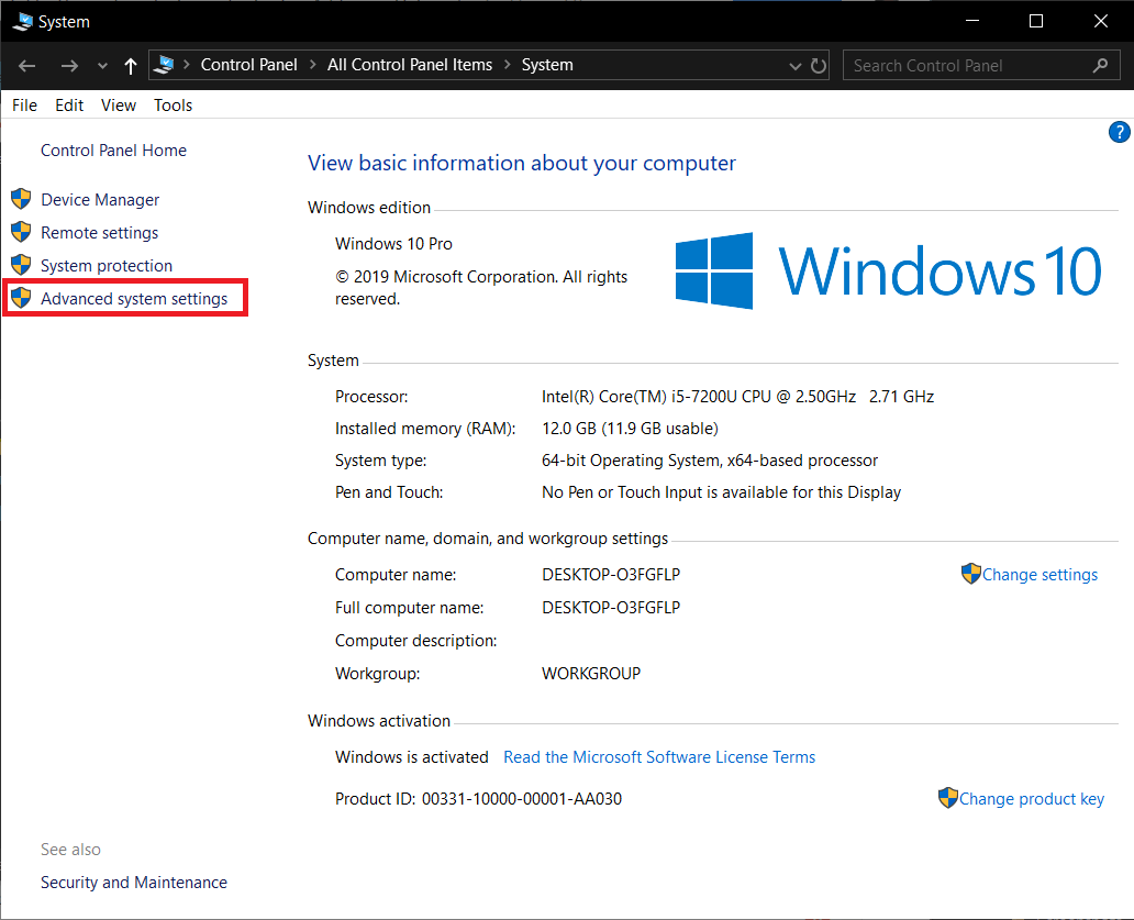 In the following window, click on Advanced System Settings