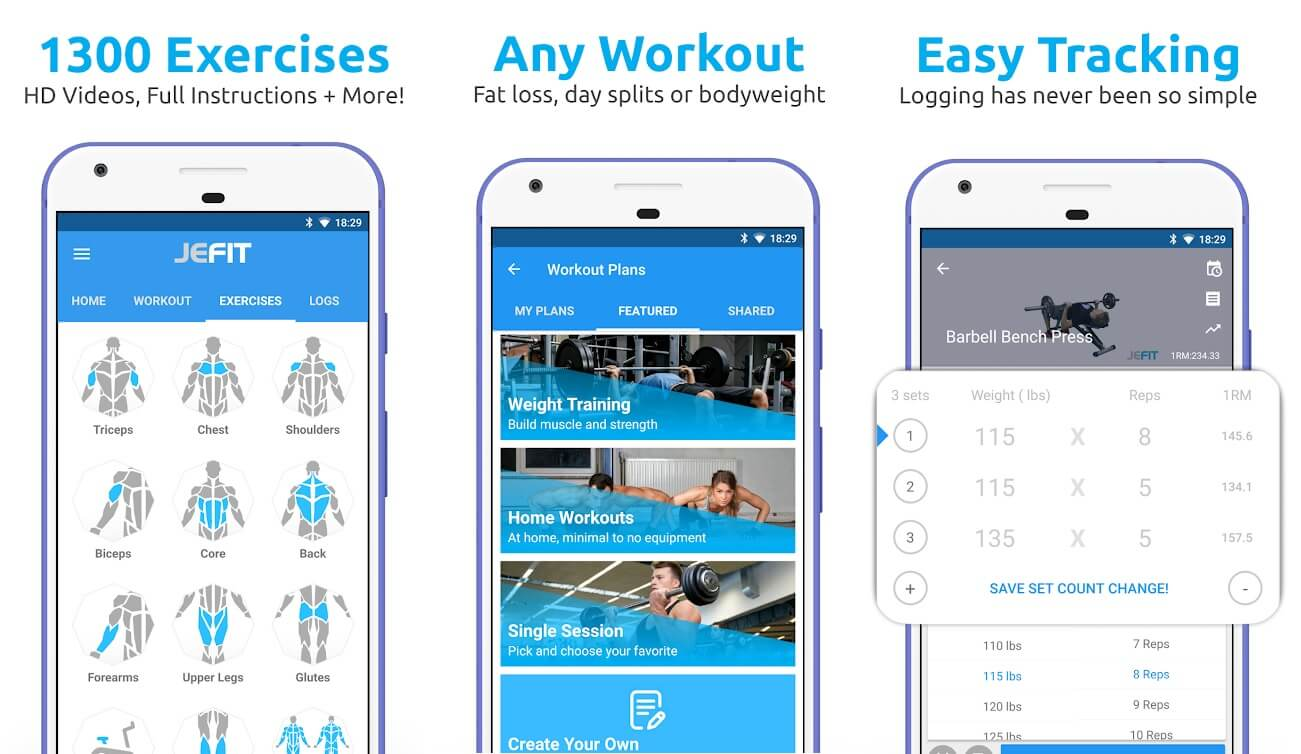 JEFIT Workout Tracker, Weight Lifting, Gym Log App | Best Fitness and Workout Apps for Android (2020)