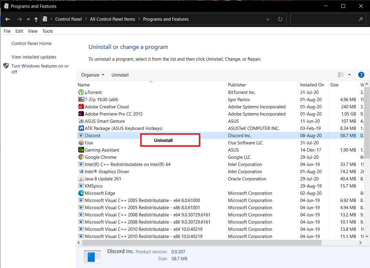 Locate Discordin the following window,right-clickon it and selectUninstall