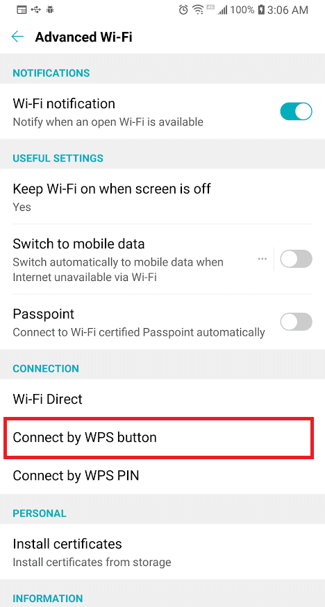 Look for theConnect by WPS Button option and tap on it | Share Wi-Fi without revealing Password