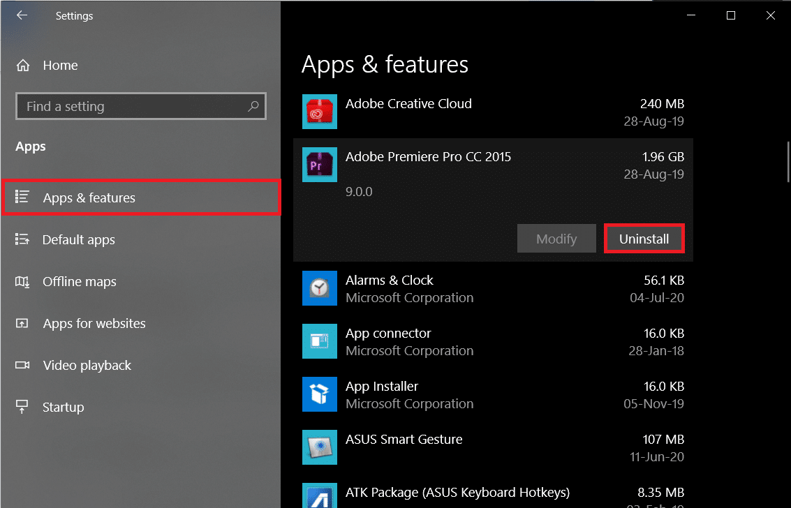 Make sure you are on the Apps & Featuressettings page and then selectUninstall