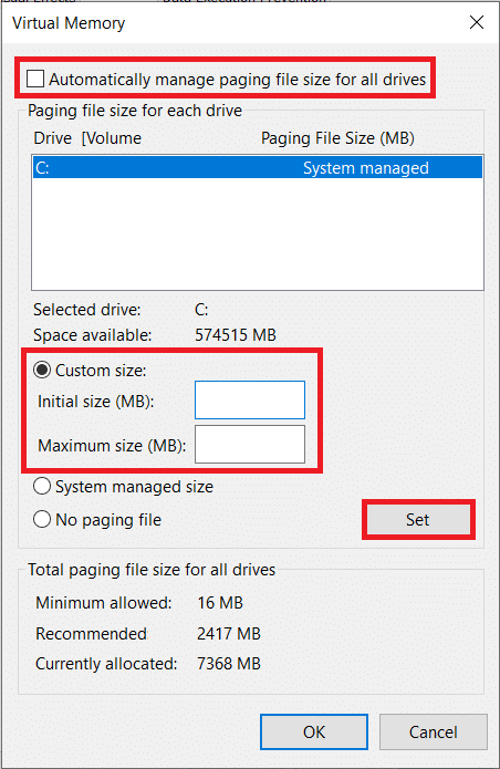 Maximum sizeshould bethree times the initial size   Fix Windows 10 running slow after update