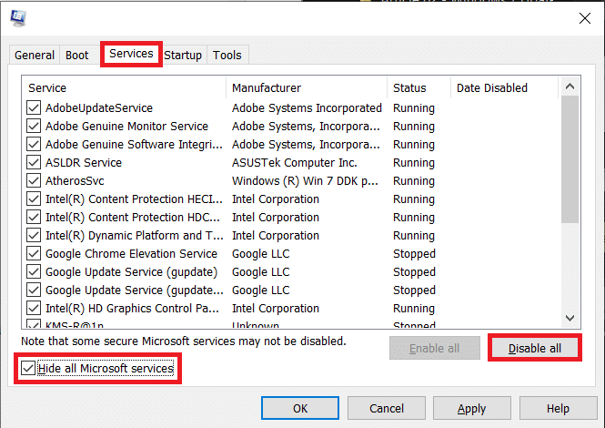 Move over to the Servicestab and tick the box next toHide all Microsoft services and clickDisable all