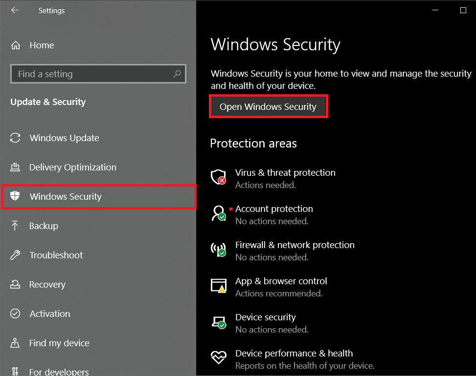 Move to the Windows Securitypage and click on theOpen Windows Security button