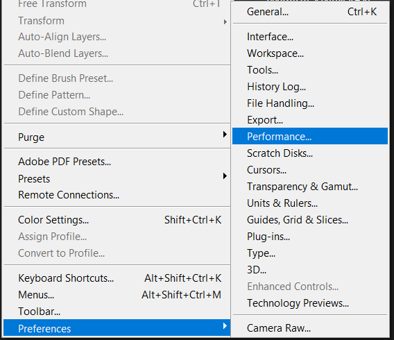 Navigate to Preferences then select Performance