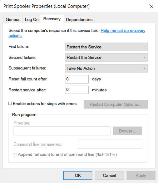 Next, the recovery tab allows you to set the actions to be automatically performed