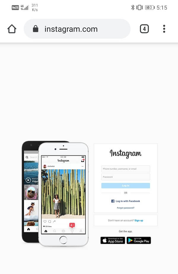 Now search for Instagram and open its website | Fix Instagram Not Working or Loading on Wi-Fi