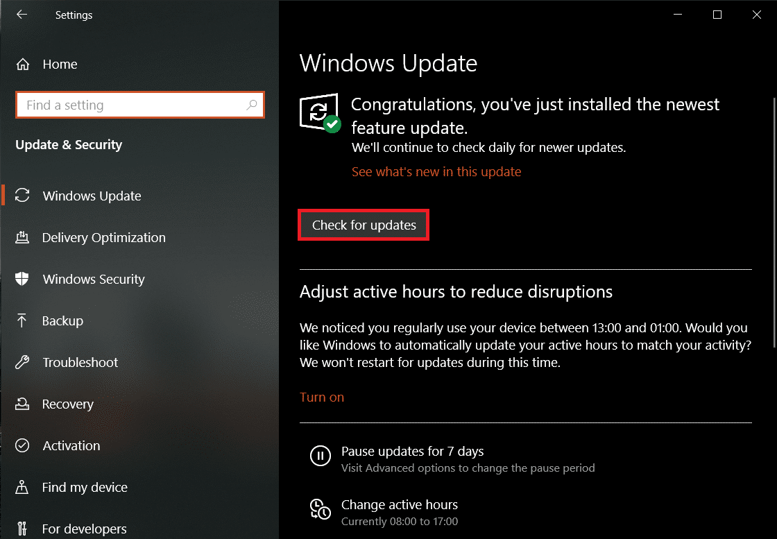 On the Windows Update page, click on Check for Updates