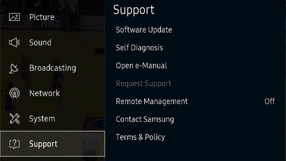 Open Menu on your Samsung Smart TV then select Support