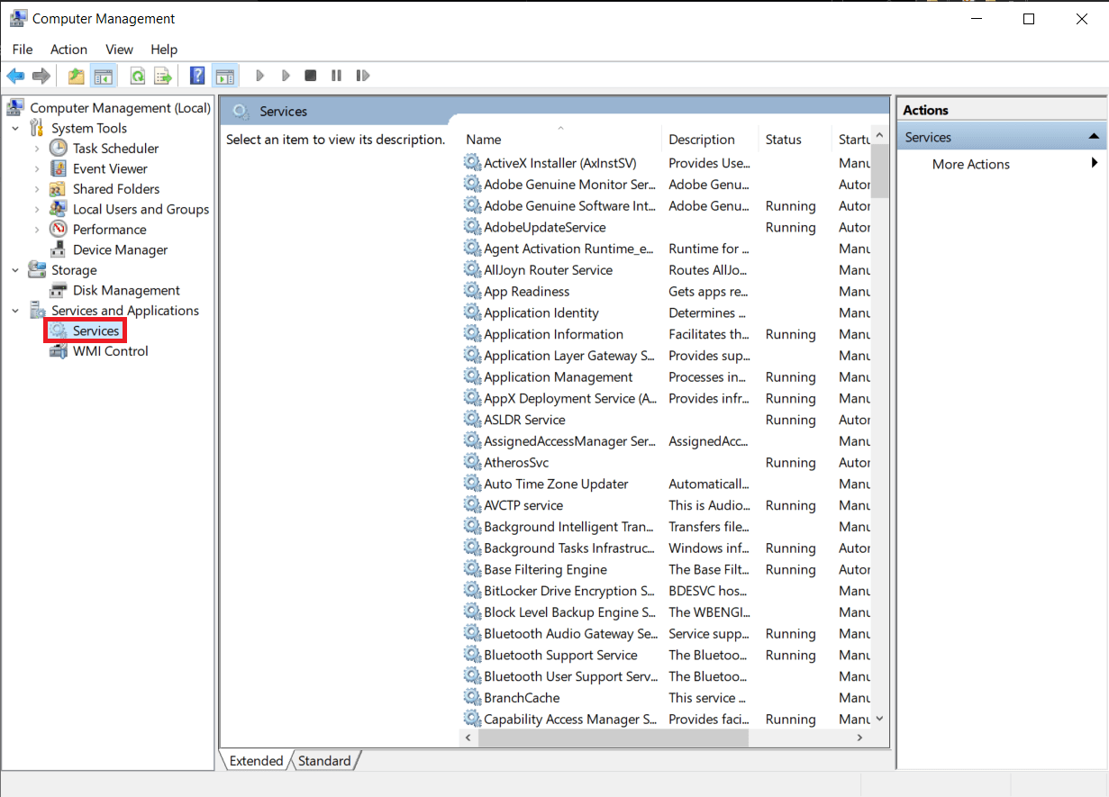 Open the Computer Management application first and then click on Services in the left panel