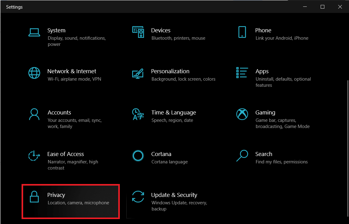 Open up Windows Settings and click onPrivacy | What is YourPhone.exe process in Windows 10