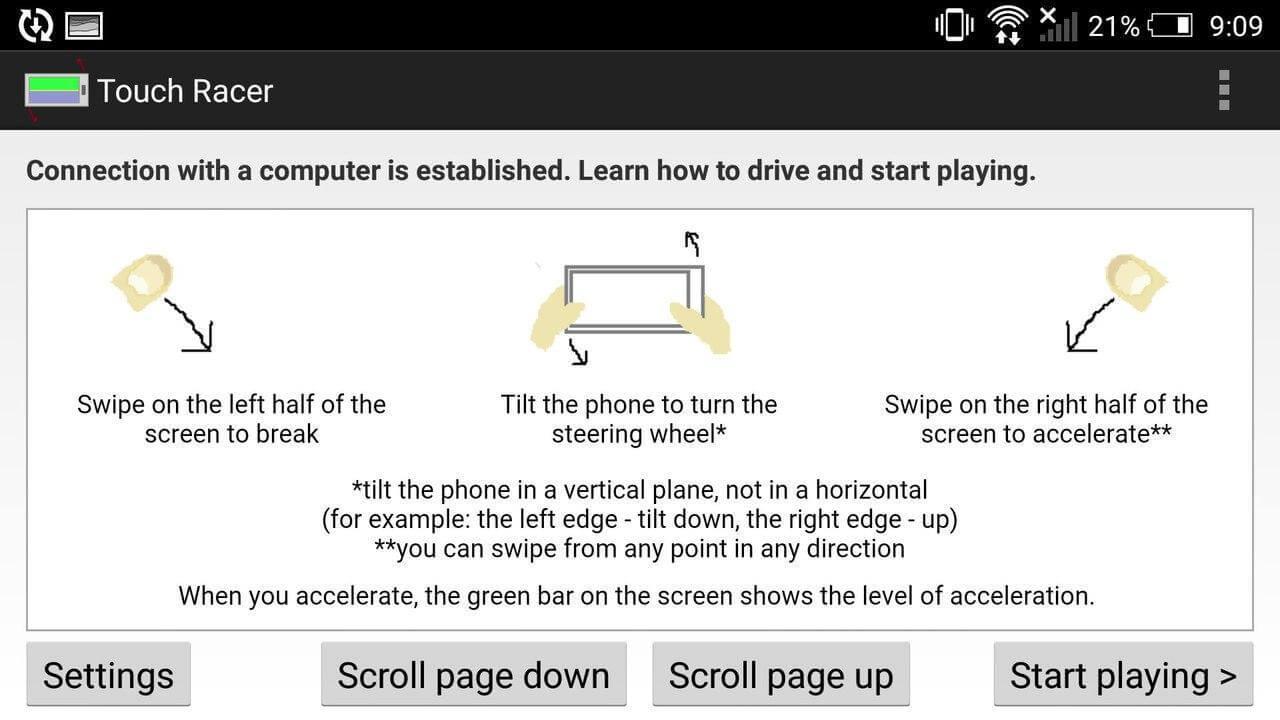 App's setting and set various custom settings like sensitivity for steering, acceleration, and braking