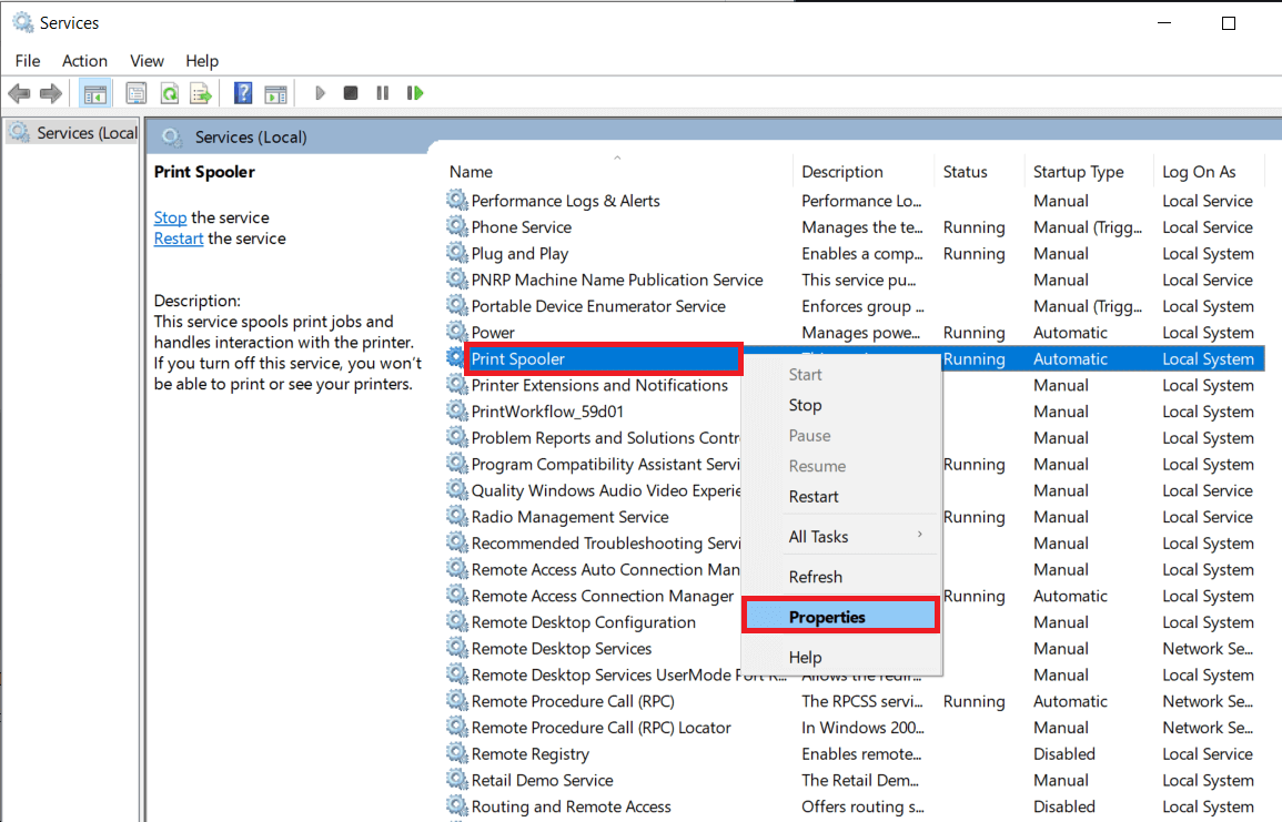 Right-clickon the Print Spooler service and selectProperties