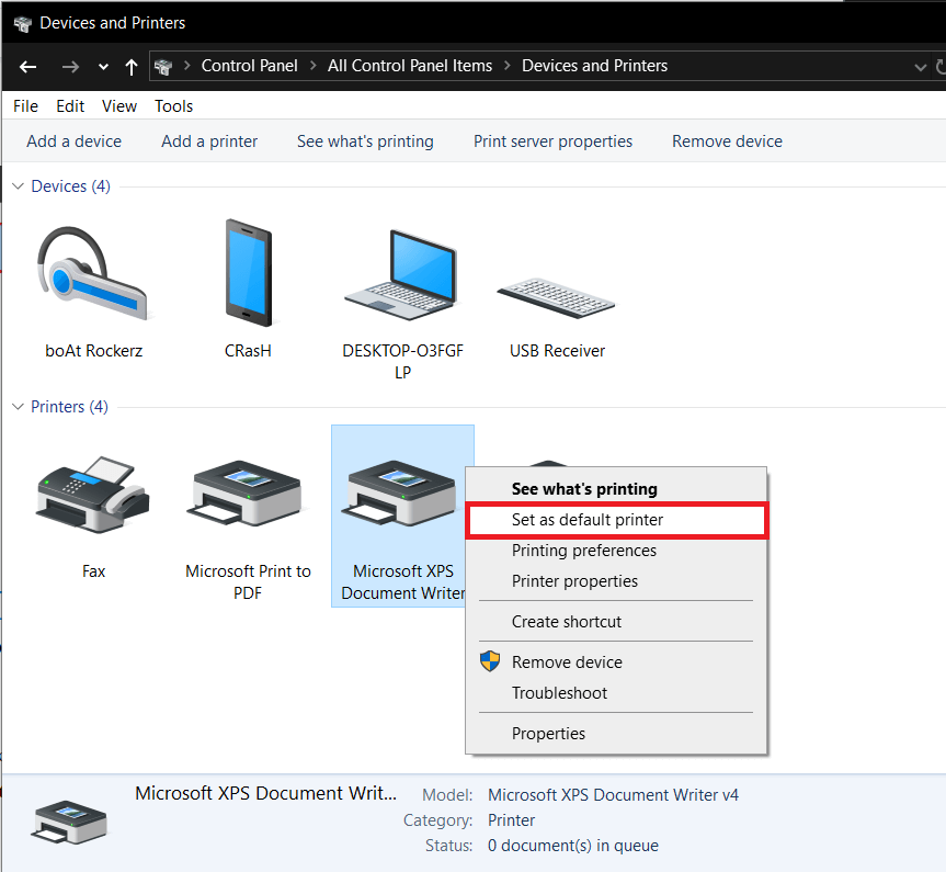Right-clickon the printer and chooseSet as default printer
