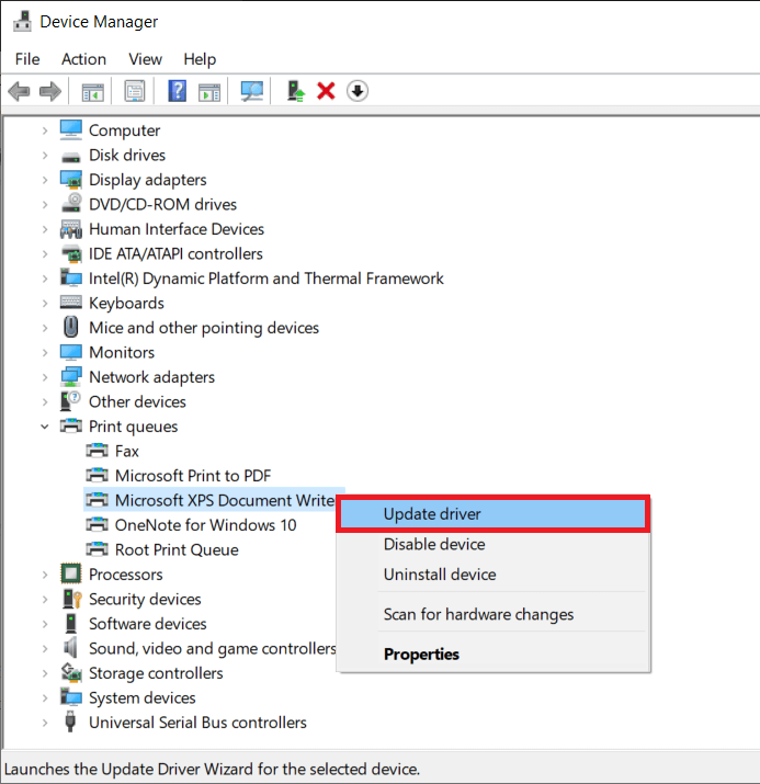 Right-clickon the problematic printer and selectUpdate Driver