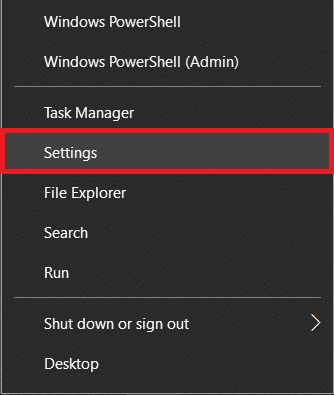 Right-click on the start button and select Settings