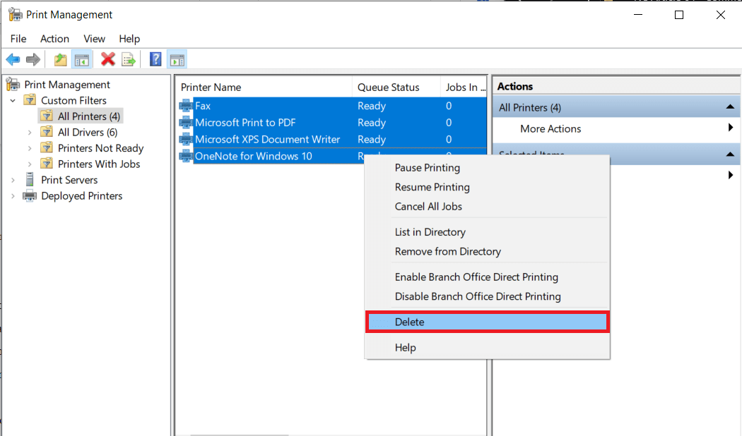 Right-clickover any printer and selectDelete