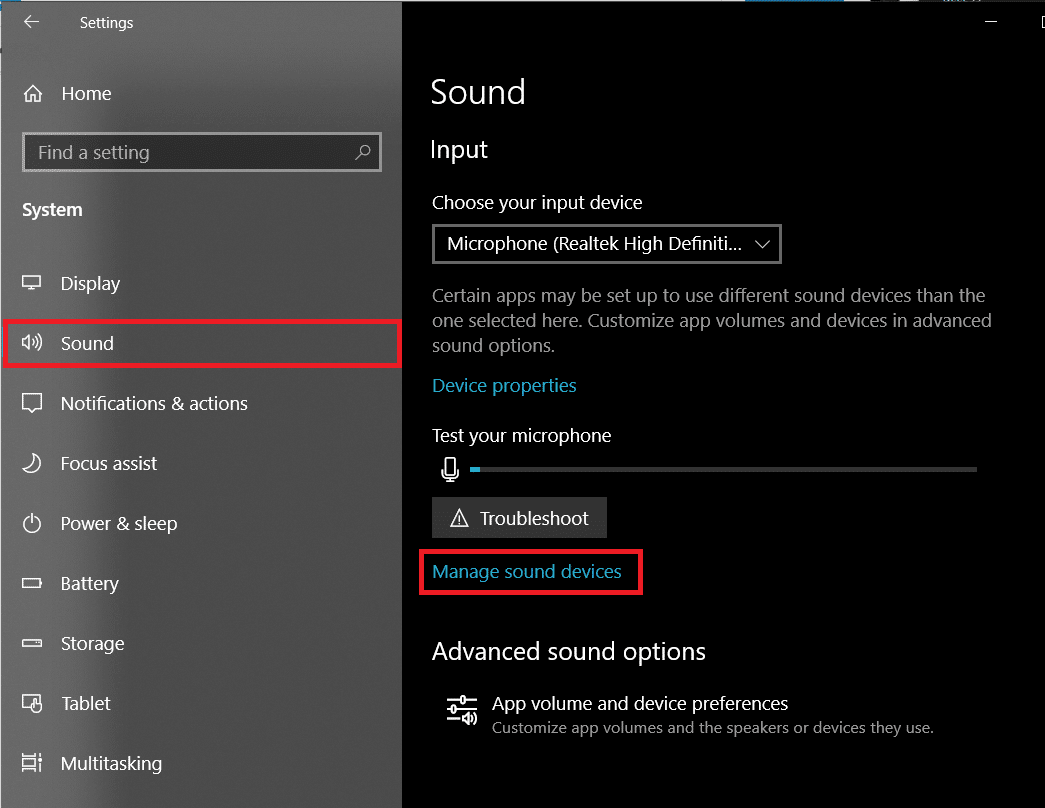 Right-panel, click on Manage Sound Devices under Input | Enable Stereo Mix on Windows 10