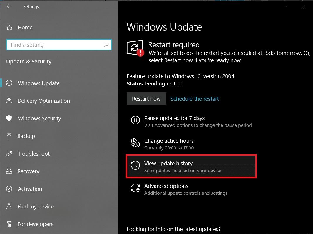 Scroll down on the right panel and click on View update history