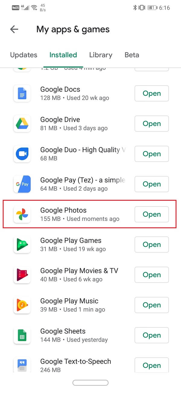 Search for Google Photos and check if there are any pending updates