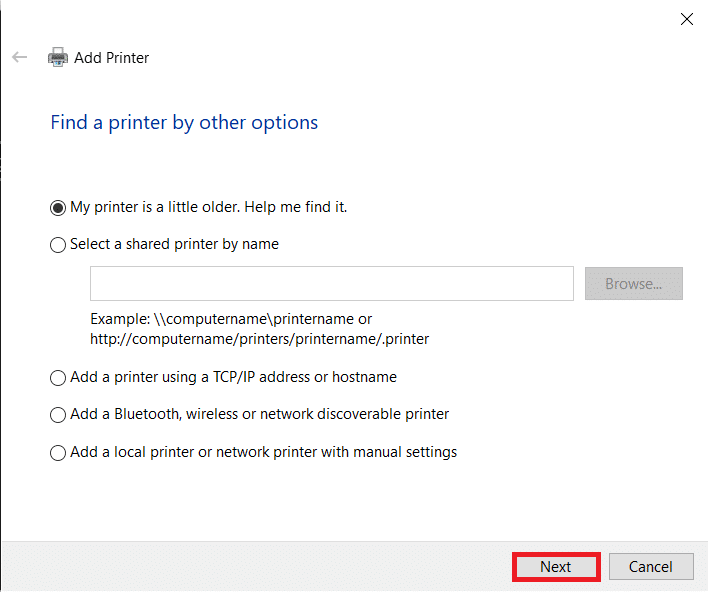 Select 'My printer is a little older and click on Next