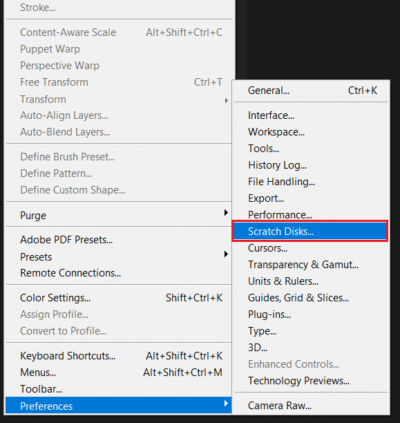 Select Preferences then Scratch Disk