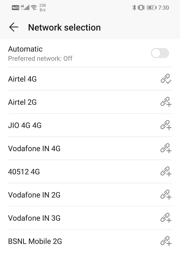 Select the network that says 4G or 3G next to it