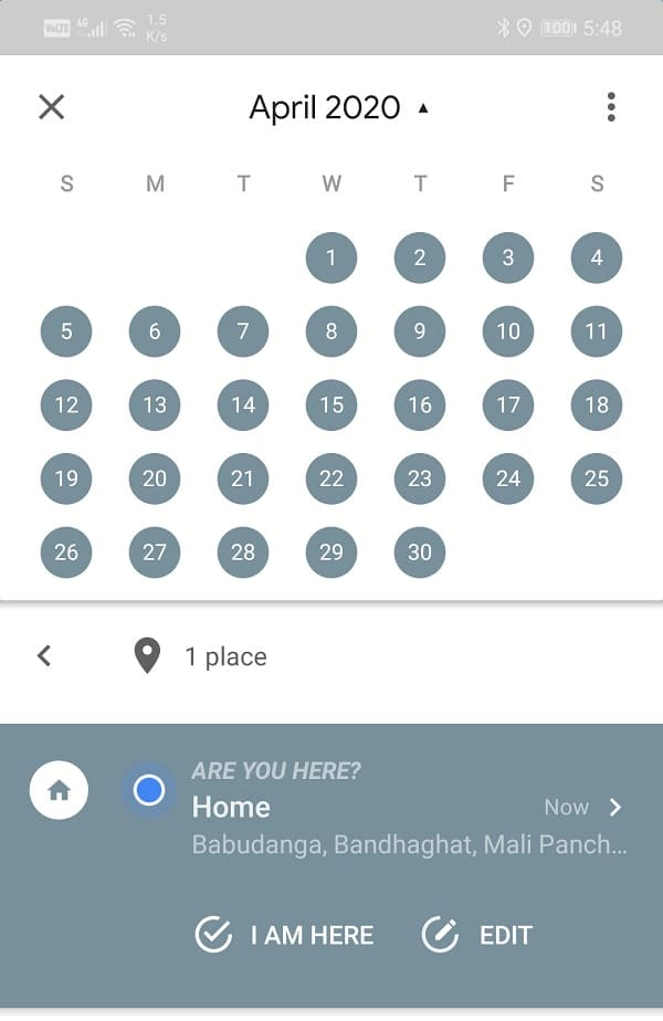 Swipe right to navigate backward on the calendar   View Location History in Google Maps