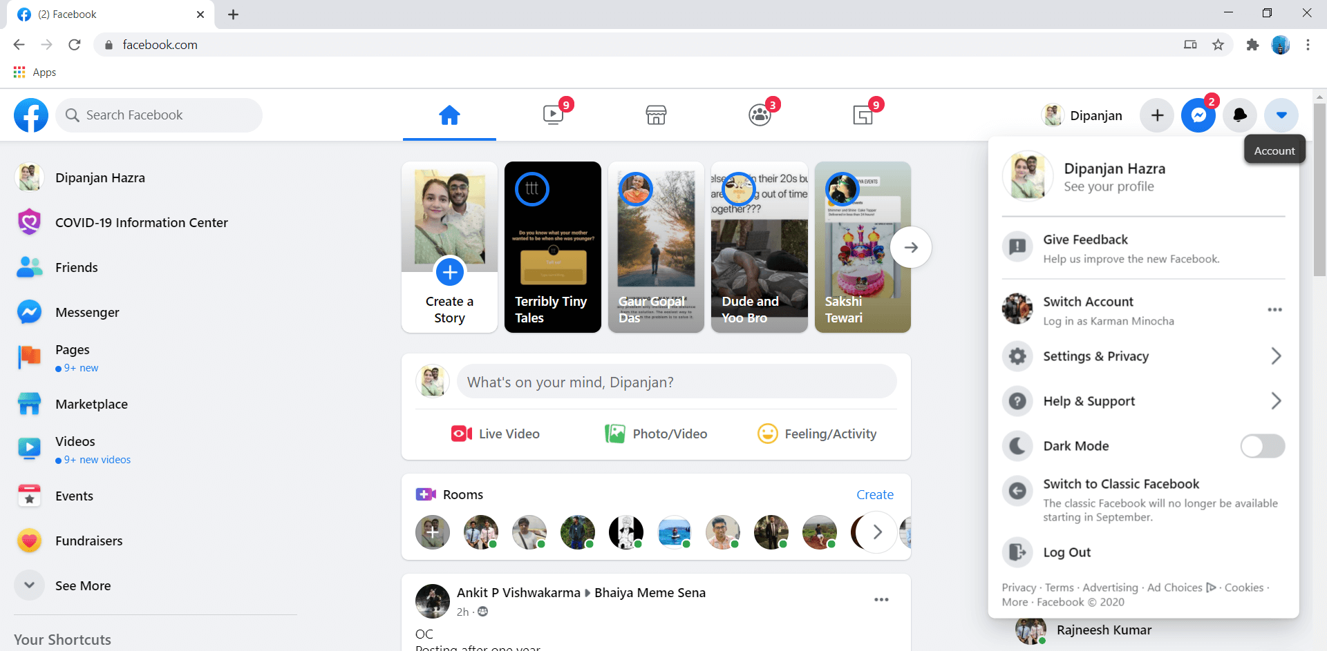 Tap on the Account menu and select the Account Settings | Fix Facebook Home Page Won't Load Properly