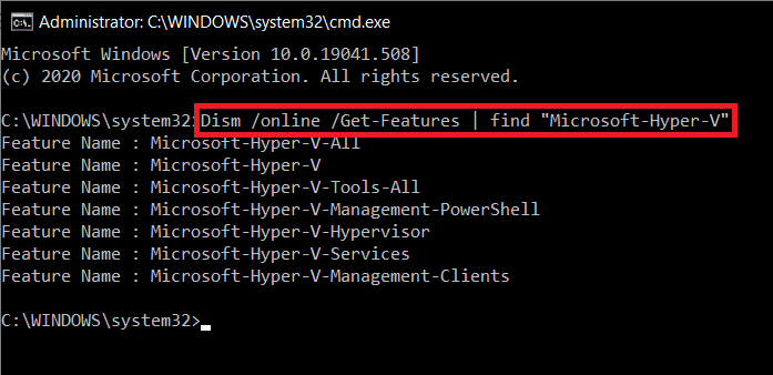 To configure Hyper-V type the command in the Command Prompt