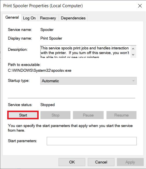Click on the Startbuttonto restart the Print Spooler service