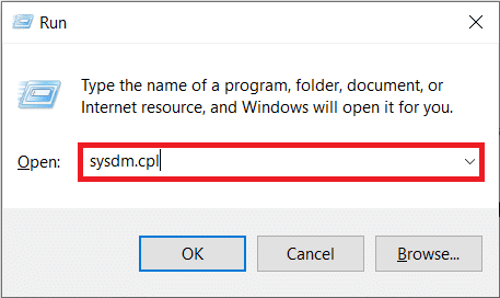 Typesysdm.cpl in the Command prompt, and press enter to open the System Properties window