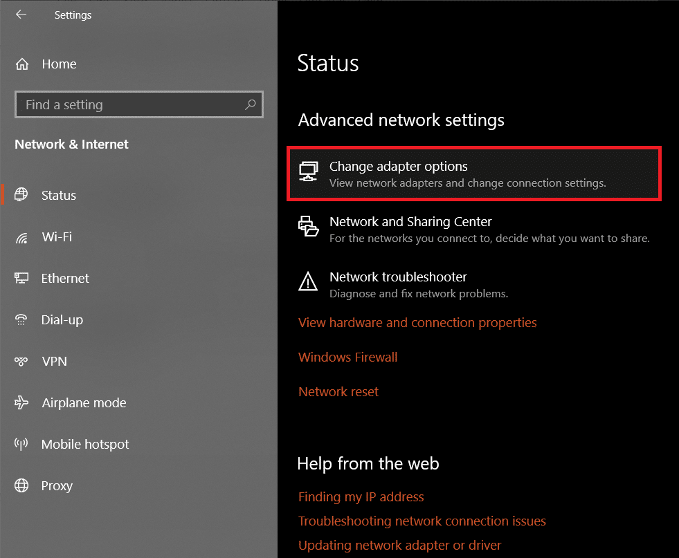 Under Advanced Network Settings on the right-panel, click on Change adapter