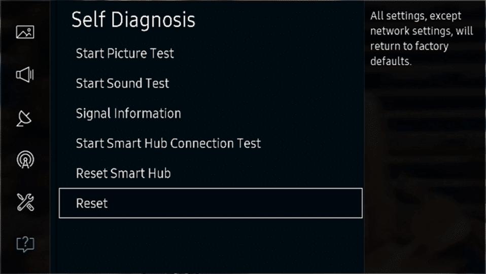 Under Self Diagnosis select Reset