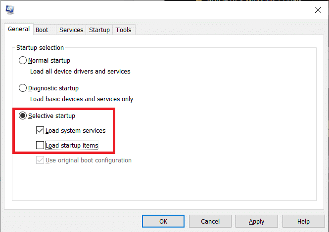 Under the General tab, enable Selective startup by clicking on the radio button next to it