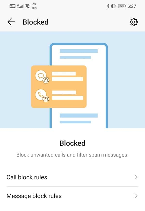 You can set separate Call blocking and Message blocking rules
