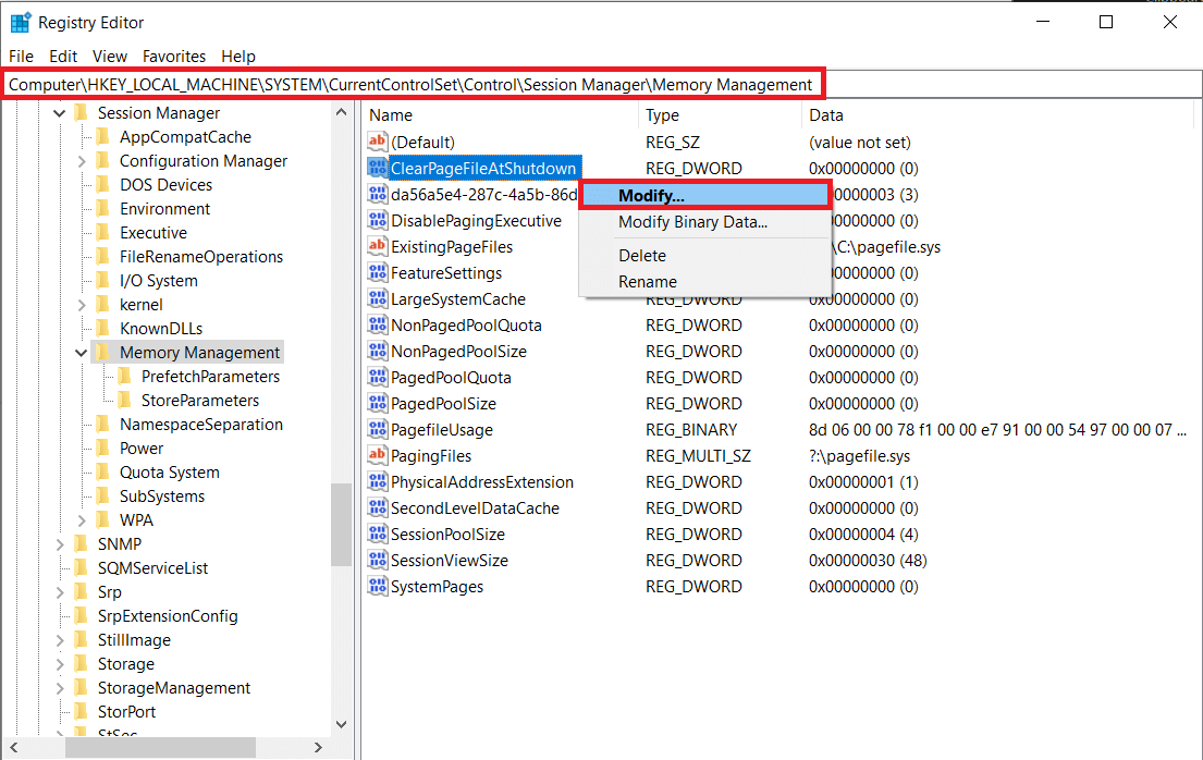Right-clickon ClearPageFileAtShutdown and selectModify   How to free up RAM on your Windows 10 PC