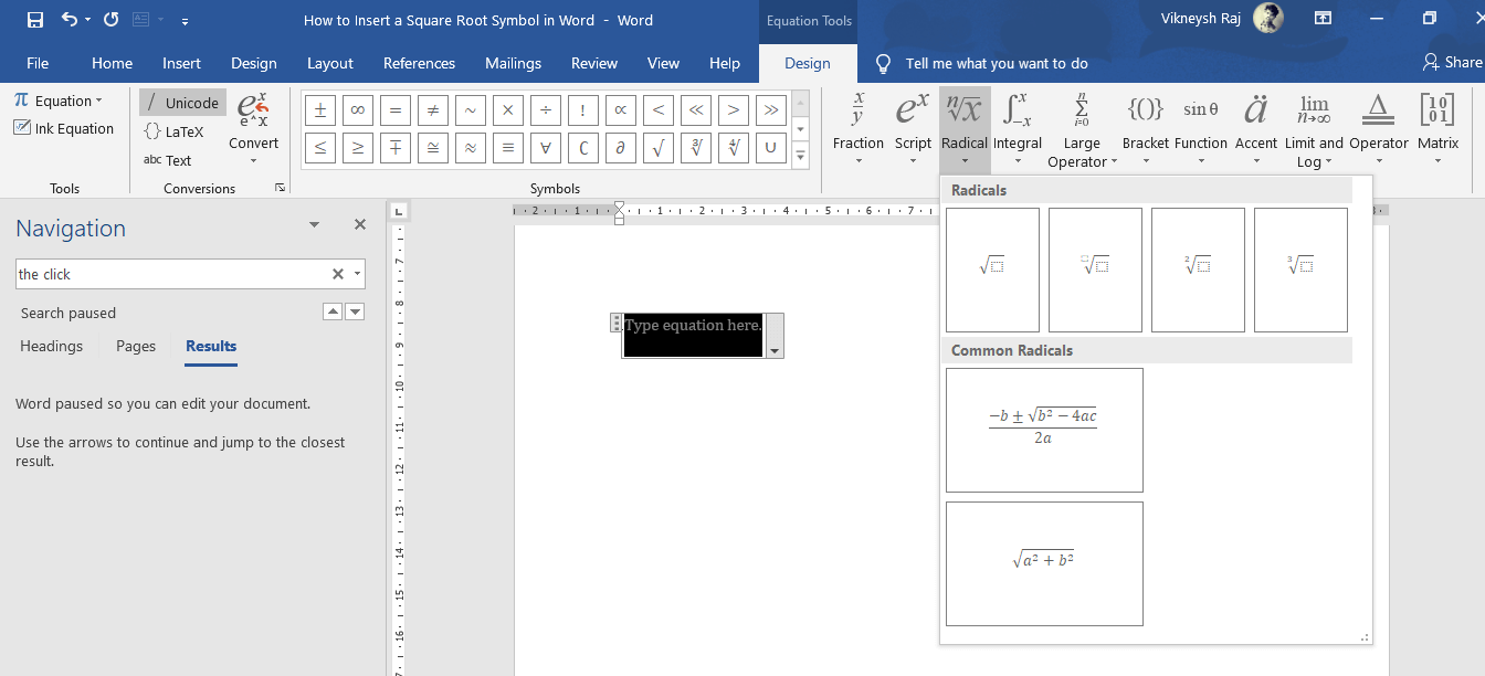 Automatically the Design tab appears