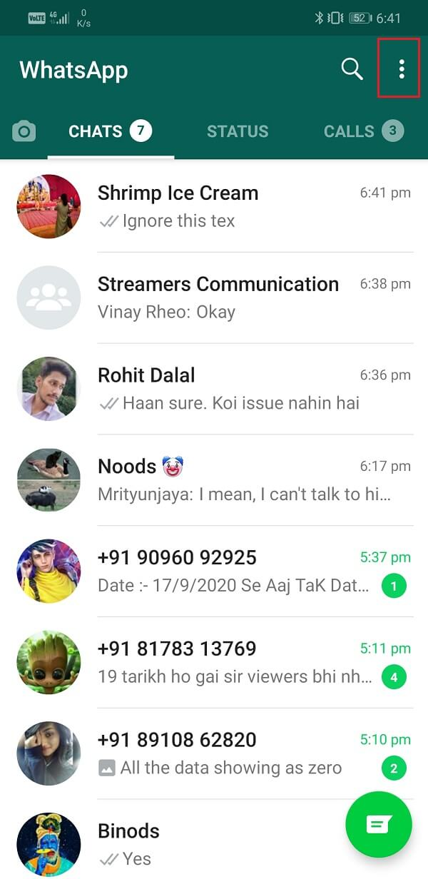 Open WhatsApp and Tap on three-dot menu option on the top-right corner of the screen