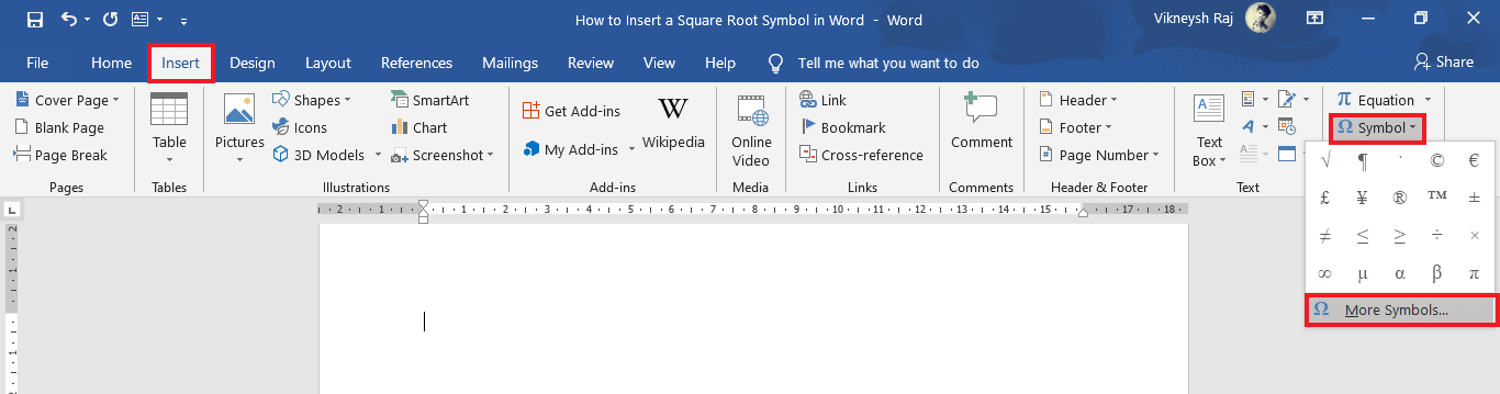 Choose the More Symbols option at the bottom of the drop-down box