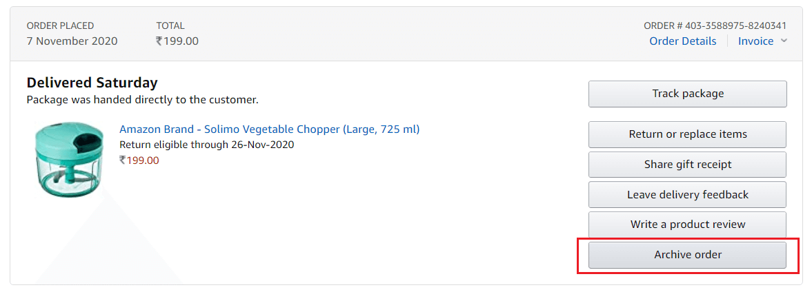 Click on Archive order button next to your Amazon order