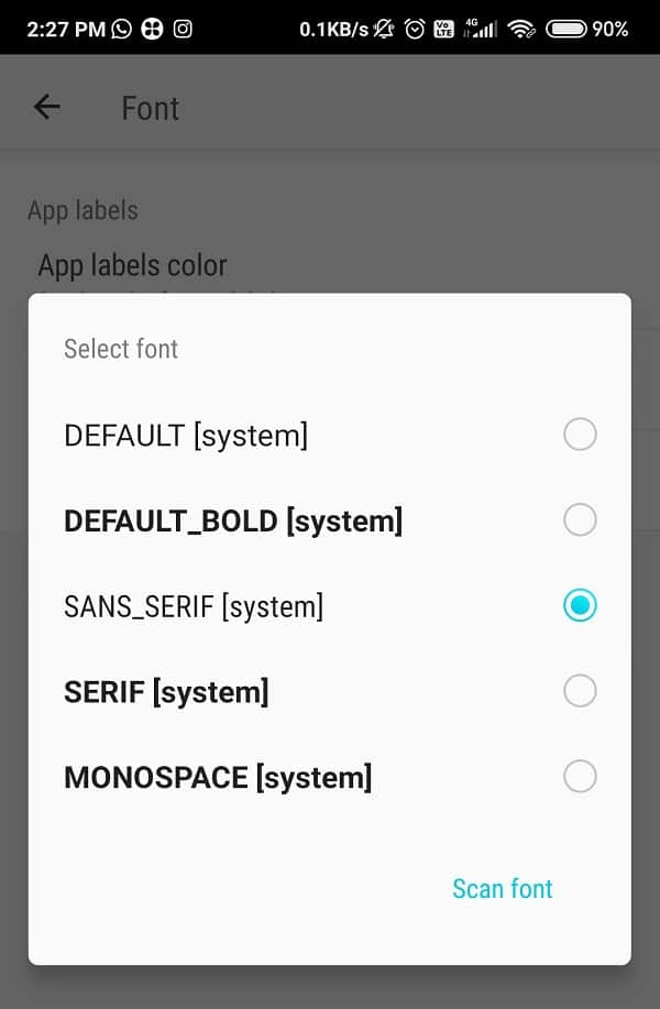 Click on the Scan font button