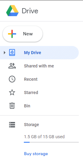 Click on the button labelled New to upload a new file to your Google Drive