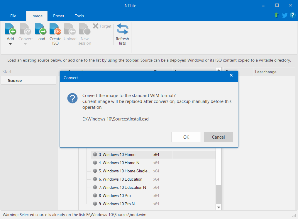Click on the confirmation to convert the image to standard WIM format | Slipstream Windows 10 Installation