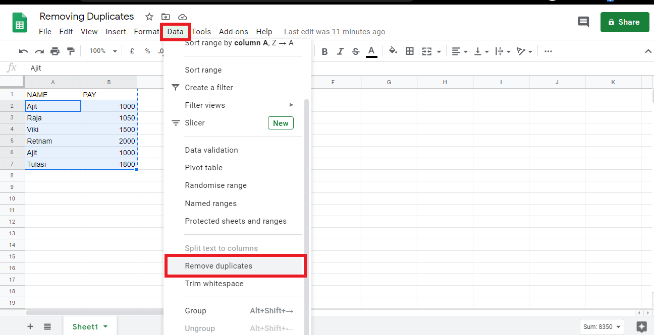 """Click on the menu labelled """"Data"""". Click on Remove duplicates to eliminate duplicate records"""