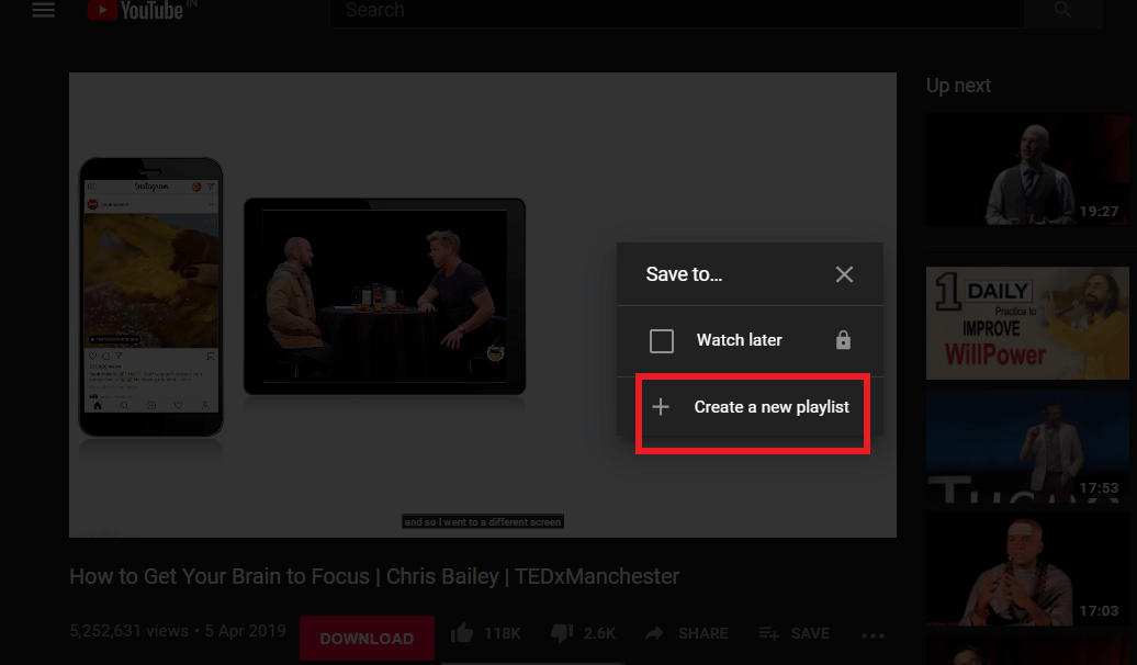 """Create a new playlist by making a click on the """"Create a new playlist."""" 