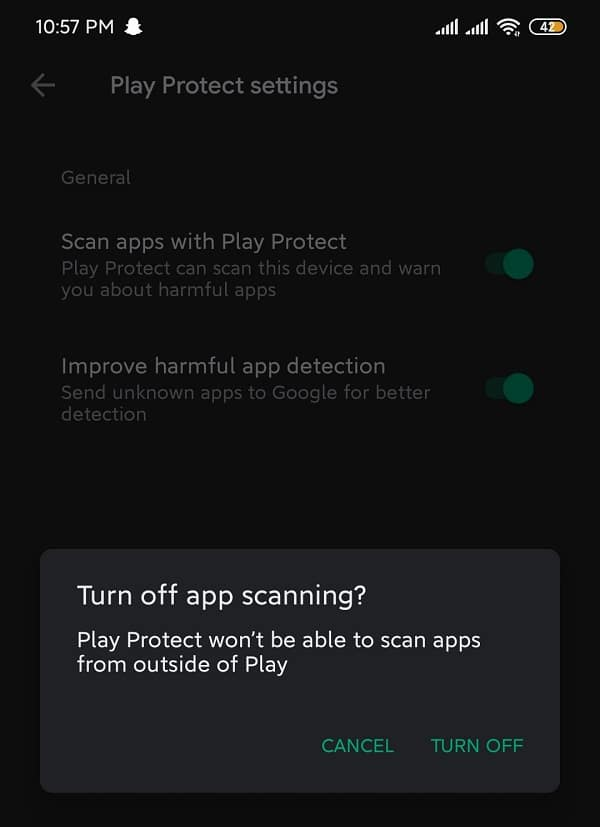 """Disable """"scan apps with Play Protect"""" for a short while"""