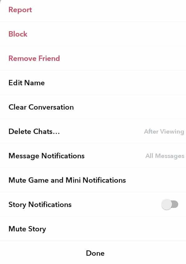 Find options to block and remove that friend