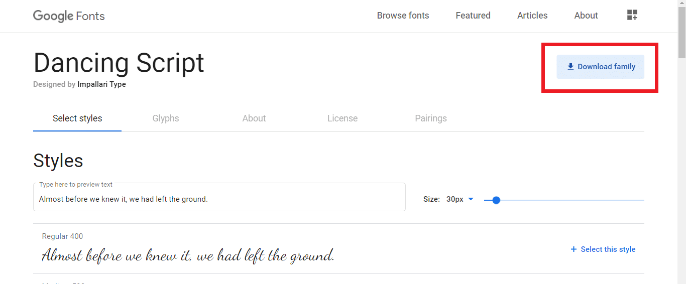Find the Download family option on the top-right part of the Google Fonts website window